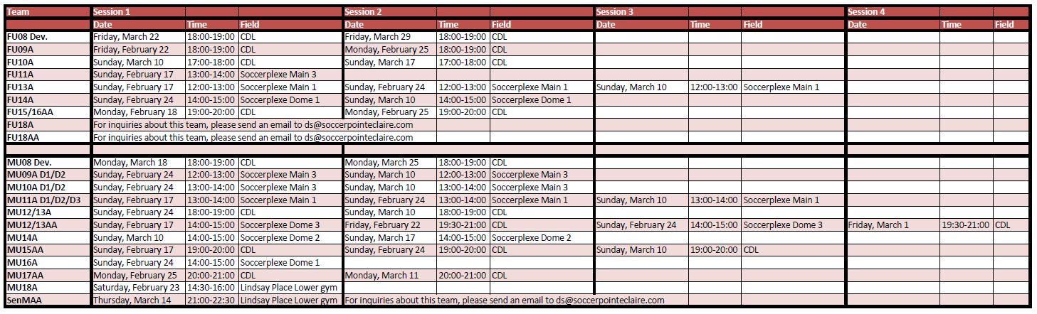 Schedules - Pointe-Claire Amateur Soccer Association